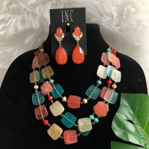 Layered Necklace with Matching Coral Earrings